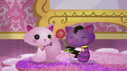 NS1E09B Cat gives flower to Cat