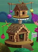NS1E06B Casa de madera gatos closeup