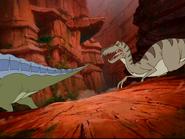 Raptor chasing Ouranosaurus