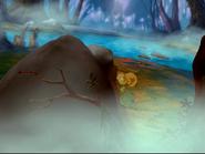 Kids sleep next to an alleged rock