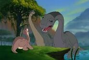 Littlefoot's Grandpa tells Littlefoot to be careful of Pterano