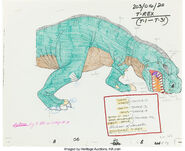 The Land Before Time Sharptooth Model Cel and Drawing Don Bluth, 1988 2