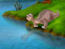 Littlefoot talks to his shadow in the water
