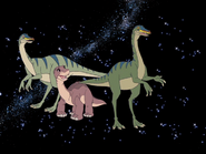 Rainbowfaces and Littlefoot in space