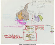 The Land Before Time Sharptooth Multi-Character Color Model Cel and Drawing Don Bluth, 1988 2
