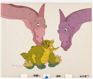 The Land Before Time Ducky and Spike Production Cel Setup