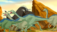 Ornithomimids flee