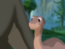 Littlefoot asks Cera if she wants to race him over to Ducky's and Spike's