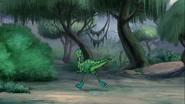 Hidden runner running towards bushes