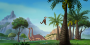 Two Apatosaurus Lousiae with a Pteranodon