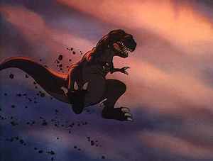 Sharptooth leaping into air