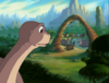 02-Littlefoot sees the grown-ups keep arguing like always instead of going to the Threehorn Peak to rescue Ducky