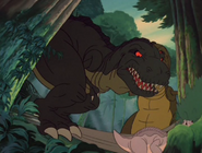 Papa finding Littlefoot and Chomper