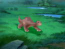 Littlefoot decides to race himself over to Ducky and Spike's