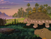 Edmontonia and Stegosaurus grazing original quality