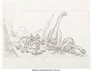 The Land Before Time Dinosaurs Storyboard Original Art Group of 5 Amblin Lucasfilm Don Bluth, 1988 3