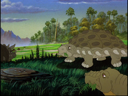 Edmontonia and Stegosaurus grazing