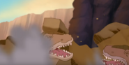 The Sharpteeth Getting Crushed by The Rocks