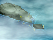 Croc w teeth poking out of water