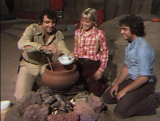 Land-of-the-lost-season-1-14-stone-soup-rick-will-holly-marshall-dinner-spencer-milligan-wesley-eure-kathy-coleman-review