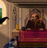 Scotia as Crow in Geron's Office