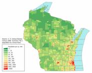 Плотность населения в Висконсине
