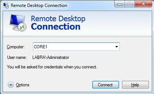 Remote Desktop Connection mstsc
