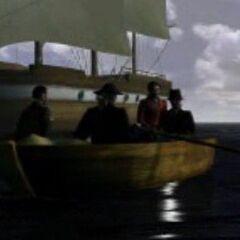 Paul y otros marineros desembarcan en la Antártida.