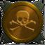 Skull gold trophy