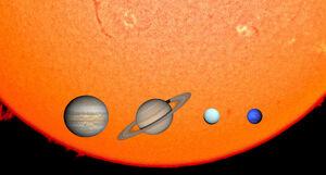 Gas Giants & The Sun in 1,000 km