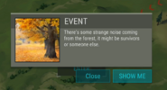 Event pop up - Strange Noise from the Forest