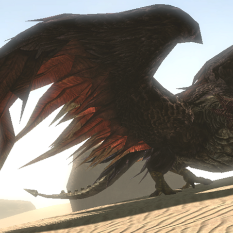Blackwing is resting on the burning sand