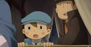 Luke und Layton in der Kutsche