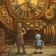 Layton und Luke vor der Zeitmaschine