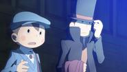 Layton und Luke vor der magischen Wand