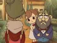 185px-Professor Layton Curious Village - Flora scared of Robot Dahlia