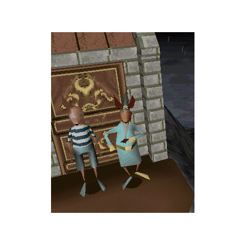 Raph and Bersimon, waiting for Twinsen at the lighthouse door