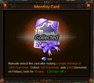 Monthly Card Window