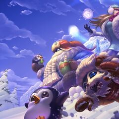 Gnar is seen chasing a Pengu, Bard is holding another Pengu in his hand, and the last Pengu is frozen in the background behind Syndra.