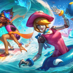 Pengu surfing or diving in Pool Party Orianna and Taliyah Splash
