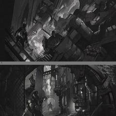 Grafika koncepcyjna Zaun 3 (zapowiedź Ekko) w wykonaniu Gabriela Yeganyana