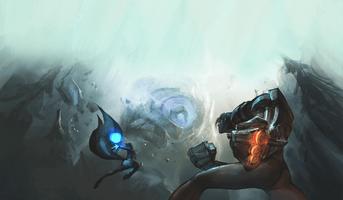 Blauer Wächter Kampf Konzept