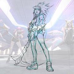 Concepto de la ilustración de Akali K/DA 1 (por el artista de Riot, <a class=