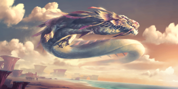 Empyrean dragons are a breed of wingless wind dragons of Ionia that reside above the clouds, constantly moving with the wind.