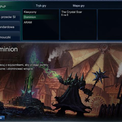 Wybór Dominiona spośród dostępnych trybów gry