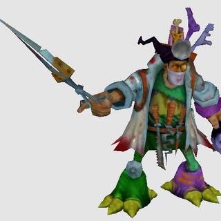Początkowy model Doktora Mundo z wczesnej wersji gry