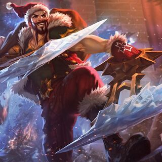 Draven crashes through the wall of a Pengu house.