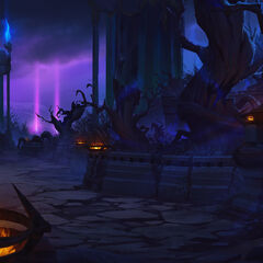 The Twisted Treeline, located on the Shadow Isles (by Riot Artist <a rel=