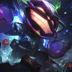 Poros in Battle Boss Ziggs splash art (insade an Arcade Sona crane cabinet)