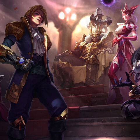 <small>Ace of Spades Ezreal, King of Clubs Mordekaiser, Wild Card Shado, Jack of Hearts Twisted Fate, and Queen of Diamonds Syndra</small>